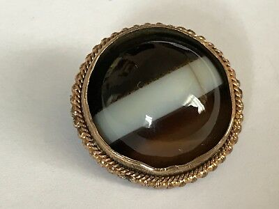 Antique Victorian 1890's 9 ct gold plated banded agate brooch pin