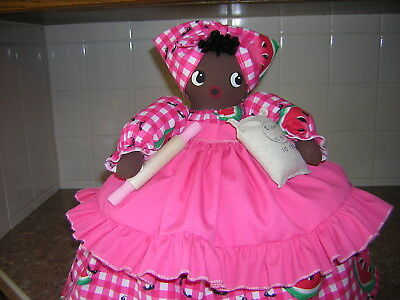 ~TOASTER COVER DOLL~~2 slice toaster~~Black Americana Mammy~~ Pretty in Pink~~~