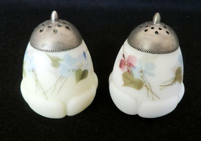 "Rare Mt. Washington ""Egg in Blossom""  Hand Painted Floral Motif  Shakers - 1891"