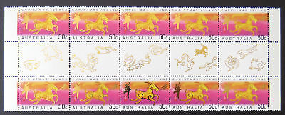 Christmas Island 2003 Year of the Goat Gutter strip of 10 MNH