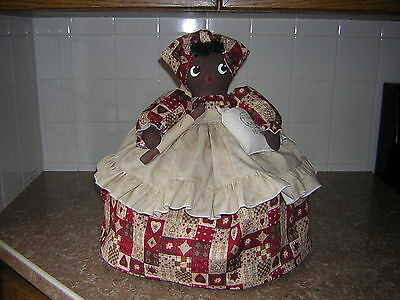 ~~TOASTER COVER DOLL~~2 slice toaster ~~Black Americana Mammy ~~Quilt print~~~