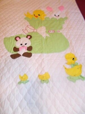 """LEE WARDS CRAFTS UNFINISHED BABY or TODDLER APPLIQUE QUILT Size 58"""" L x 41"""" W"""