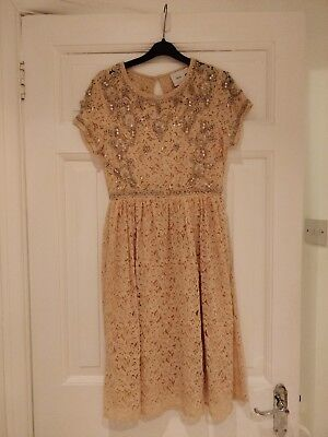 Asos Maternity Lace Nude Dress with Beading Detail, Size 12