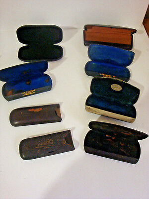 8 Antique Vintage Spectacles Eye Glasses Cases Pennsylvania Doctors 1 England