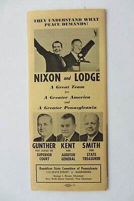 Richard Nixon 1960 Pamphlet From Pennyslvania With Local State Candidates