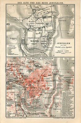 1895 JERUSALEM OLD and NEW CITY PLAN PALESTINE ISRAEL Antique Map