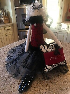 Woof & Poof Tall ANGEL black boots lace skirt matching pillow musical 2001