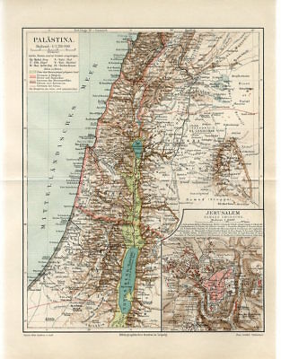 1895 PALESTINE JERUSALEM CITY ISRAEL Antique Map