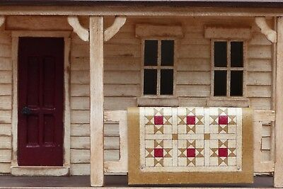 Harold Turpin American Made Folk Art  2-Story House  With Quilt On Front Porch