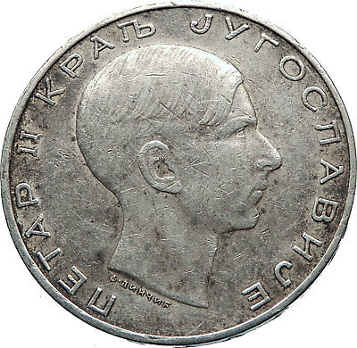 1938 YUGOSLAVIA w CROWNED EAGLE Yugoslavian Antique Silver 50 Dinara Coin i72462