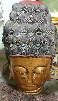 Vintage Giant Wood Carved Buddhist Buddha Temple Head Bust Chinese