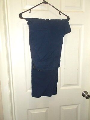 NAVY ISSUED Blue Military Cargo Pants Cotton/Polyester RIPSTOCK Size Medium-Long