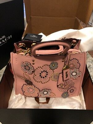 7921849006 NWT COACH 1941 Rogue With Snakeskin Tea Rose Rivets Pebble Leather ...
