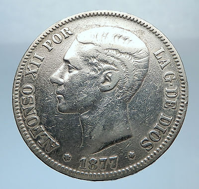 1877 SPAIN w King ALFONSO XII Antique Silver 5 Pesetas SPANISH Coin i72465