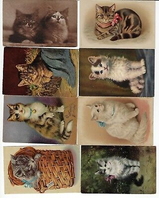 Lot of 8 Misc. Assorted Cats Antique Postcards (See Scans) (Lot 1/12)