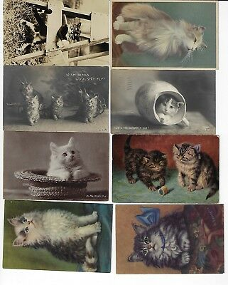 Lot of 8 Misc. Assorted Cats Antique Postcards (See Scans) (Lot 3/12)