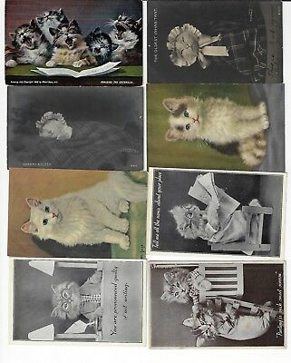 Lot of 8 Misc. Assorted Cats Antique Postcards (See Scans) (Lot 8/12)