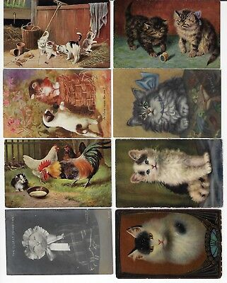 Lot of 8 Misc. Assorted Cats Antique Postcards (See Scans) (Lot 12/12)