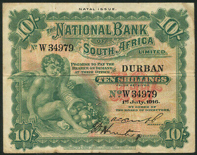 South Africa 1916 10 Shillings The National Bank Of South Africa Rare Note