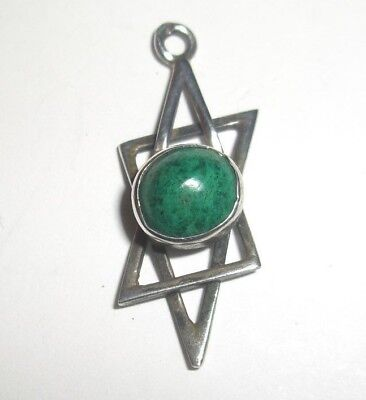 Handcrafted Abstract Sterling Silver Star Of David Pendant With Green Stone