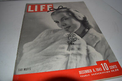Vintage December 6, 1943 Life Magazine - Ear Muffs on Cover