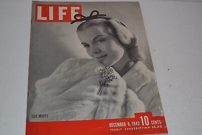 Vintage December 6, 1943 Life Magazine - Woman with Ear Muffs on Cover