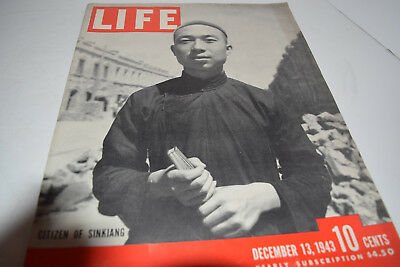 Vintage December 13, 1943 Life Magazine - Citizen of Sinkiang on Cover