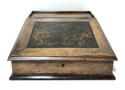 Superb Antique Victorian Writing Slope Box / Clerks Lap Desk w Leather Surface