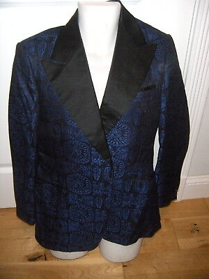 VINTAGE 60s TUXEDO BROCADE SMOKING FORM FIT JACKET BLACK/BLUE VERY COOL  38S