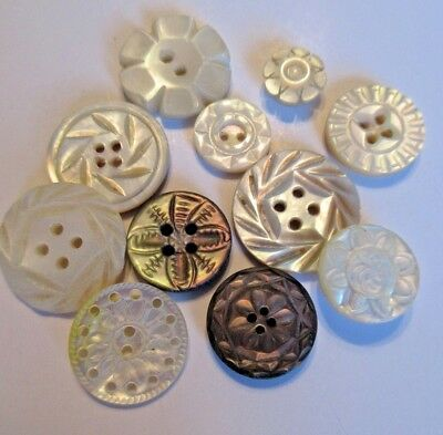 11 Carved Pierced MOP Shell Antique Vintage Buttons 3/4 inch to 3/8