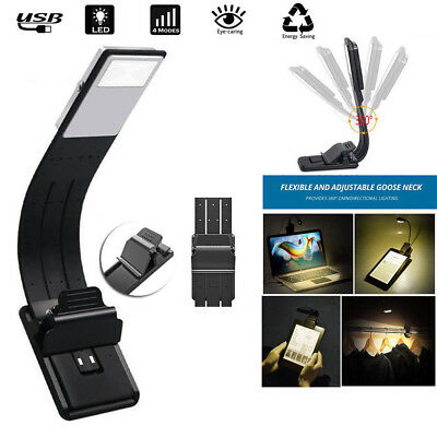 USB Rechargeable Flexible Folding Clip On LED Book Light Night Reading Lamp SA