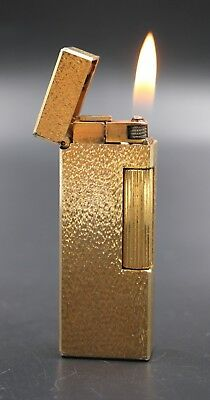 DUNHILL Gold Plated Textured Pattern Rollagas Lighter