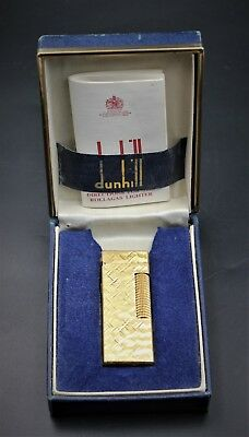 DUNHILL Gold Plated Cross Hatch Pattern Rollagas Lighter w/ Box & Papers
