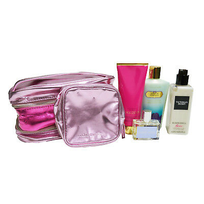 Victoria's Secret 5 Piece Gift Set Lotion Edp Makeup Bag Cosmetics New Damaged