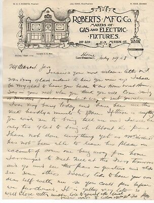 1908 Advertising Letterhead Roberts Manufacturing Co Gas & Electric Lighting SF