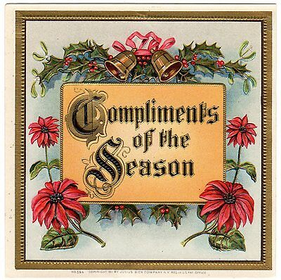 Cigar Box Label Vintage Outer Chromolithography 1911 Christmas Embossed Xmas