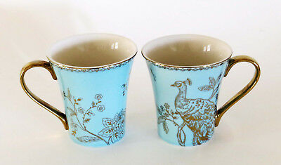 222 FIFTH •Turquoise Peacock Garden Set of 2 Tea-Coffee Cups Mugs w Gold Accent