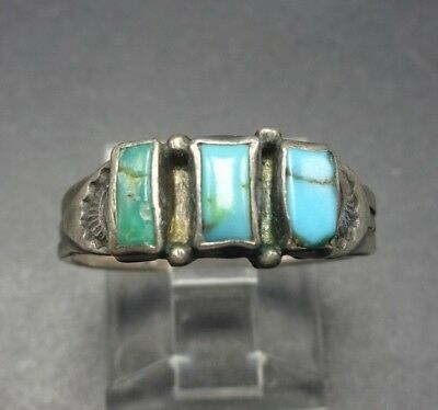 OLD 1930s ZUNI Sterling Silver NATURAL TURQUOISE RING Band sz 7.25, Folded Bezel