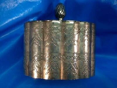 SILVERPLATED TEA CADDY vintage ETCHED PATTERN