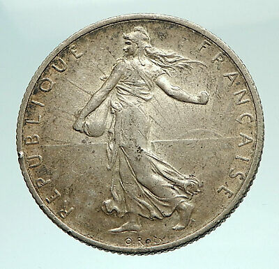 1919 FRANCE Antique Silver 2 Francs French Coin w La Semeuse Sower Woman i72446