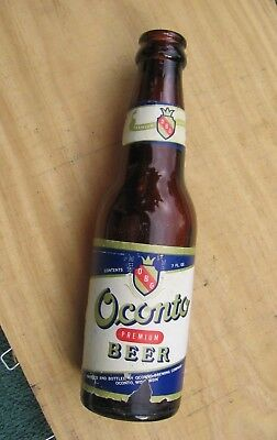 Vintage Oconto Wisconsin Brewing Co 7 oz Amber Glass Premium Beer Bottle~Code  a