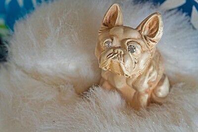hand painted, old, vintage, glass, bulldog, collectible, animals, glass eyes,