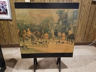 "Vintage Antique Federal Style Wood Walnut Folding Card Table "" The Hunt"""