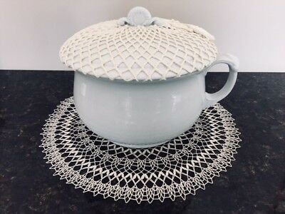Chamber Pot w/Cover & Crocheted Doily Top-Alfred Meakin Royal Ironstone
