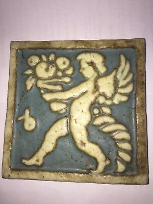 "Arts & Crafts Grueby Putto Tile 6""x6"" VGC Holding Cornucopia Blue Rare signed"