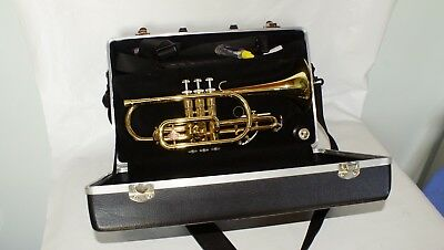 Holton Collegiate CORNET Gold Tone Horn with Hard Case Musical Band School