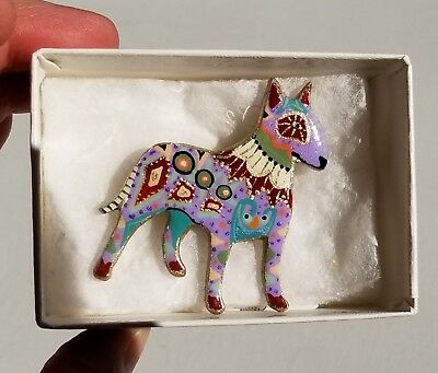 Hand Crafted Bull Terrier Pin Brooch Signed Cindy Anthony 2001