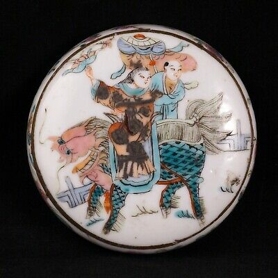 Chinese porcelain over glaze enamel paste box with Chi lin and immortal 19th C
