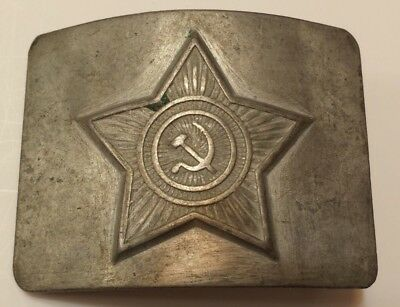 SOVIET BELT BUCKLE from RUSSIA COLD WAR RUSSIAN METAL SILVER AUTHENTIC/ORIGINAL