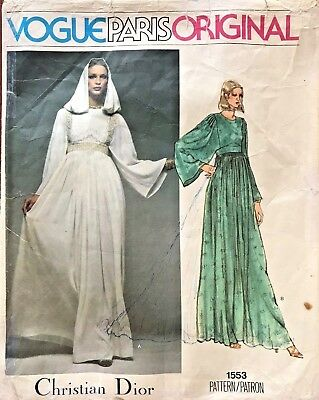 1970's VTG VOGUE Paris Orig. Misses' Dress Christian Dior Pattern 1553 Size 10